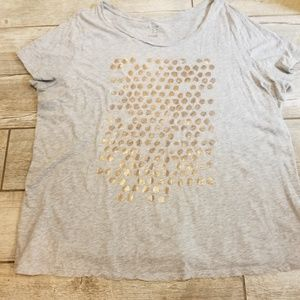 **3 for $10* 💖grey t-shirt with gold graphic dots